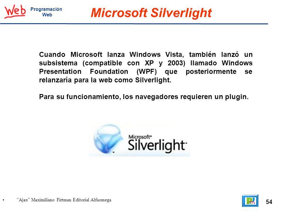 54 Ajax Maximiliano Firtman Editorial Alfaomega Programación Web Microsoft Silverlight Cuando Microsoft lanza Windows Vista, también lanzó un subsiste