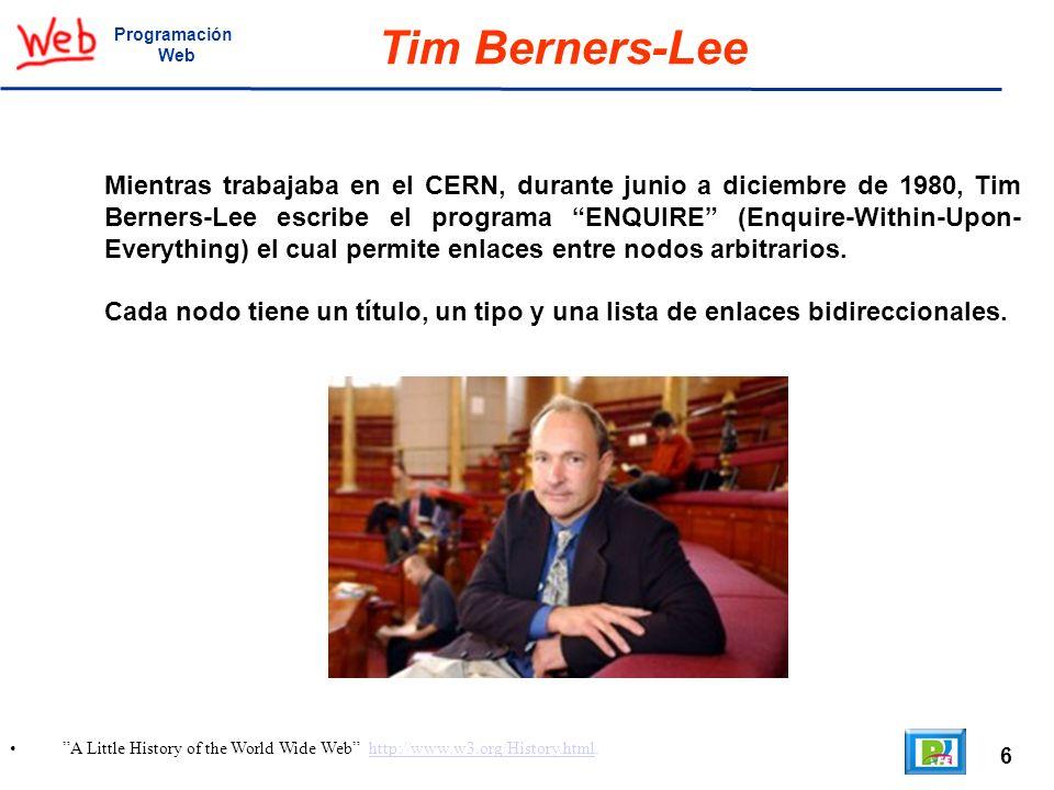 17 Welcome to info.cern.ch http://info.cern.ch/, Marc Andreseen http://en.wikipedia.org/wiki/Marc_Andreessen.http://info.cern.ch/http://en.wikipedia.org/wiki/Marc_Andreessen Programación Web Creadores de Mosaic En septiembre de 1993, NCSA liberó las versiones para PCs y Apple Macintosh, lo cual permitió que la gente pudiera tener acceso a la web usando computadoras personales.