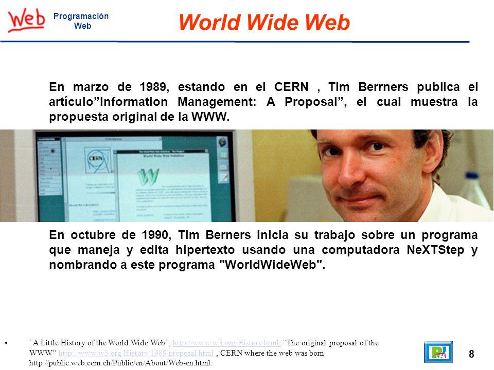 19 A Little History of the World Wide Web http://www.w3.org/History.html,http://www.w3.org/History.html Programación Web W3C El 30 de abril de 1993 el director del CERN declara que caulquier persona puede usar la tecnología de la WWW sin necesidad de pagar regalías al CERN.