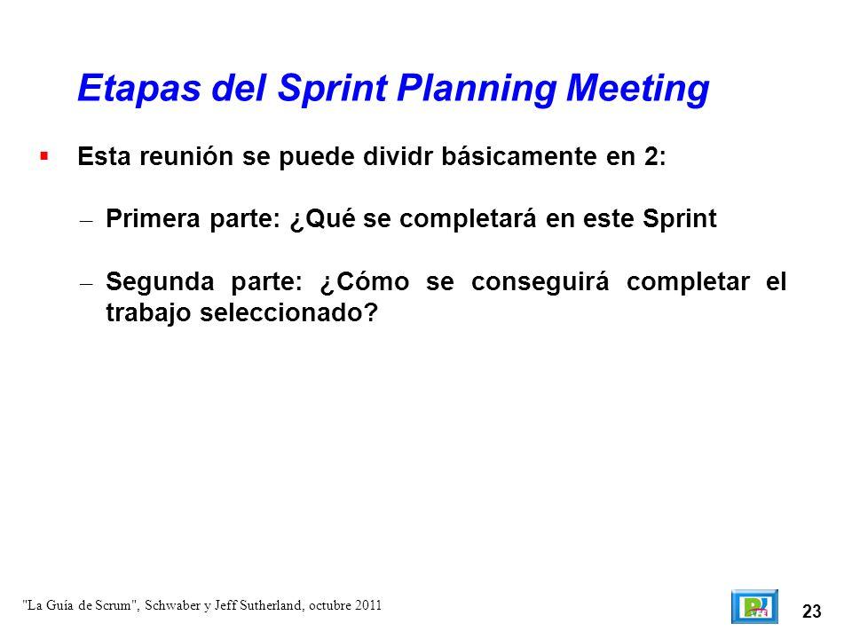 23 Esta reunión se puede dividr básicamente en 2: – Primera parte: ¿Qué se completará en este Sprint – Segunda parte: ¿Cómo se conseguirá completa
