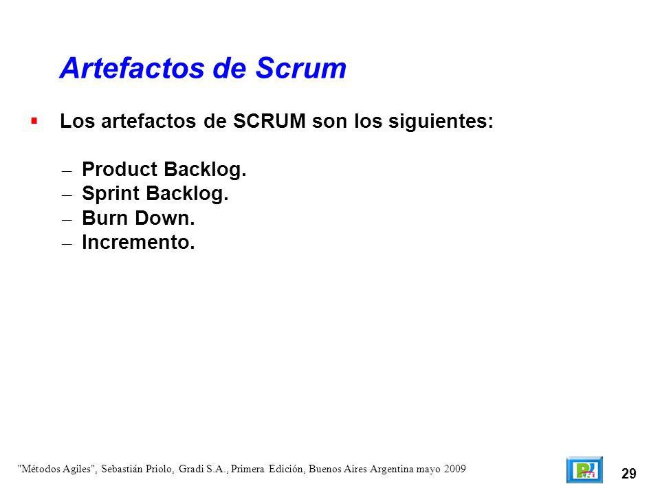 29 Los artefactos de SCRUM son los siguientes: – Product Backlog. – Sprint Backlog. – Burn Down. – Incremento. Artefactos de Scrum