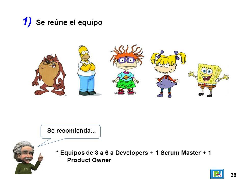 38 1) Se recomienda... * Equipos de 3 a 6 a Developers + 1 Scrum Master + 1 Product Owner Se reúne el equipo