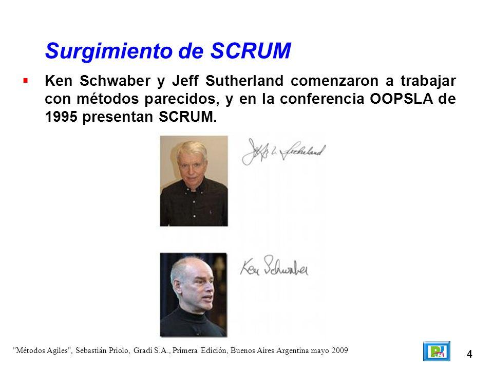 4 Ken Schwaber y Jeff Sutherland comenzaron a trabajar con métodos parecidos, y en la conferencia OOPSLA de 1995 presentan SCRUM. Surgimiento de SCRUM