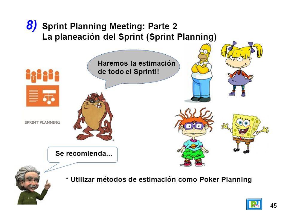 45 8) Se recomienda... * Utilizar métodos de estimación como Poker Planning Haremos la estimación de todo el Sprint!! Sprint Planning Meeting: Parte 2