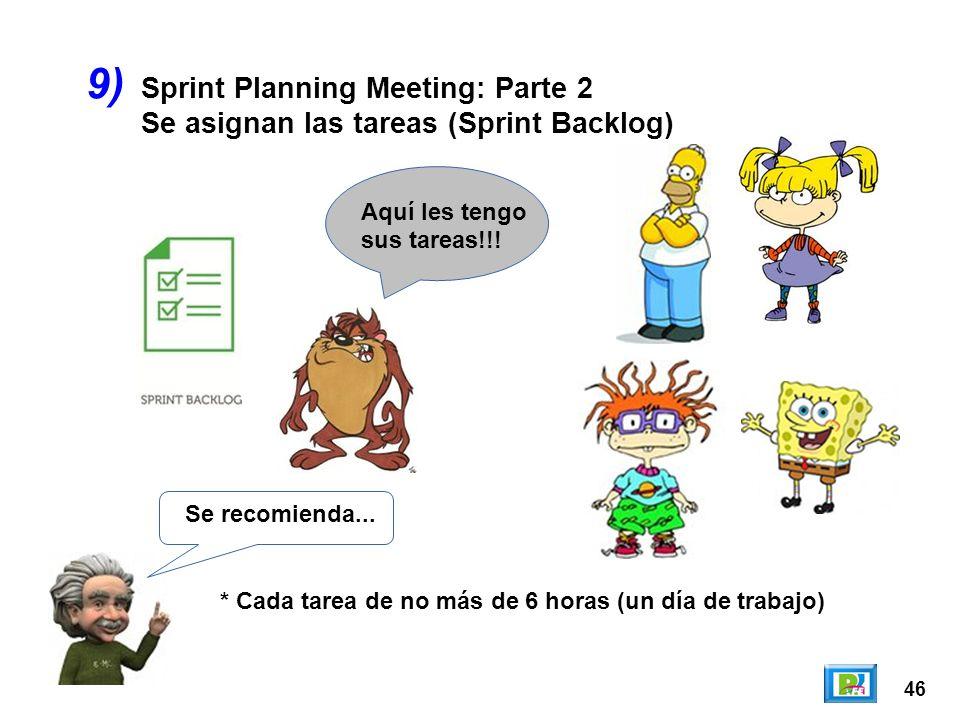 46 9) Se recomienda... * Cada tarea de no más de 6 horas (un día de trabajo) Aquí les tengo sus tareas!!! Sprint Planning Meeting: Parte 2 Se asignan