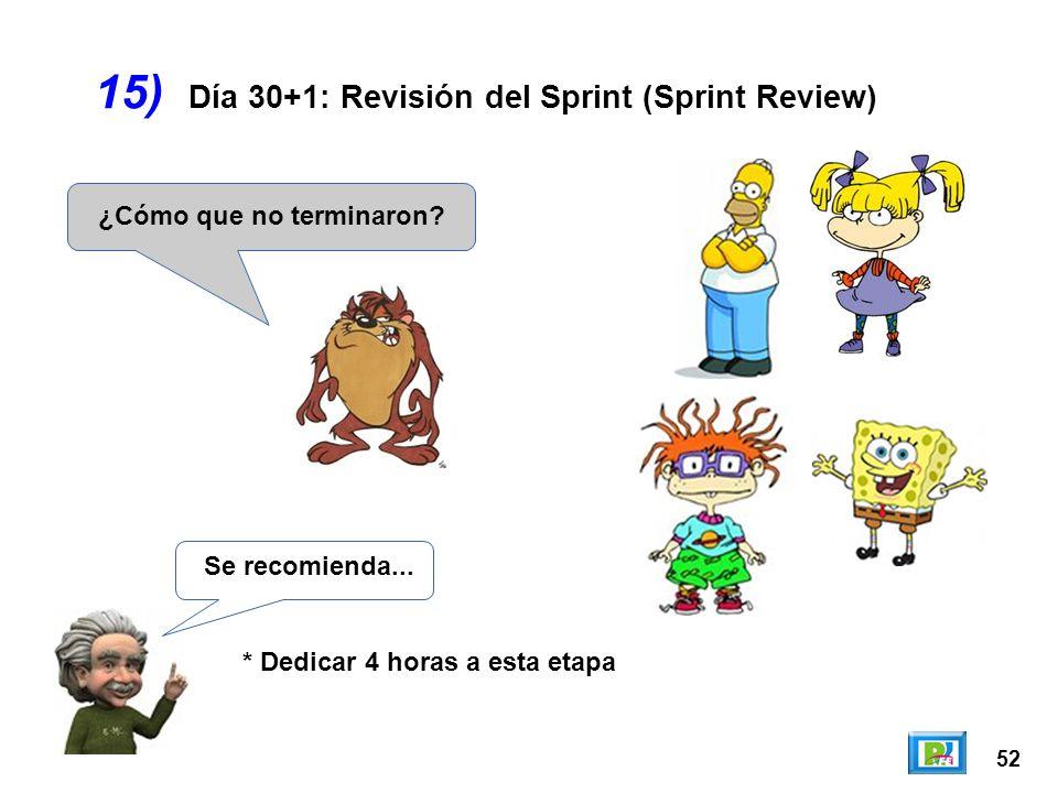 52 15) ¿Cómo que no terminaron? Día 30+1: Revisión del Sprint (Sprint Review) Se recomienda... * Dedicar 4 horas a esta etapa