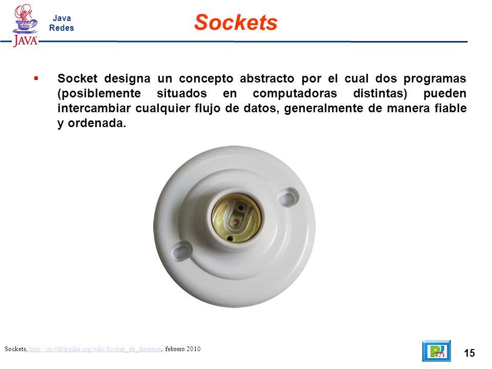 15 Sockets Sockets, http://es.wikipedia.org/wiki/Socket_de_Internet, febrero 2010http://es.wikipedia.org/wiki/Socket_de_Internet Socket designa un concepto abstracto por el cual dos programas (posiblemente situados en computadoras distintas) pueden intercambiar cualquier flujo de datos, generalmente de manera fiable y ordenada.