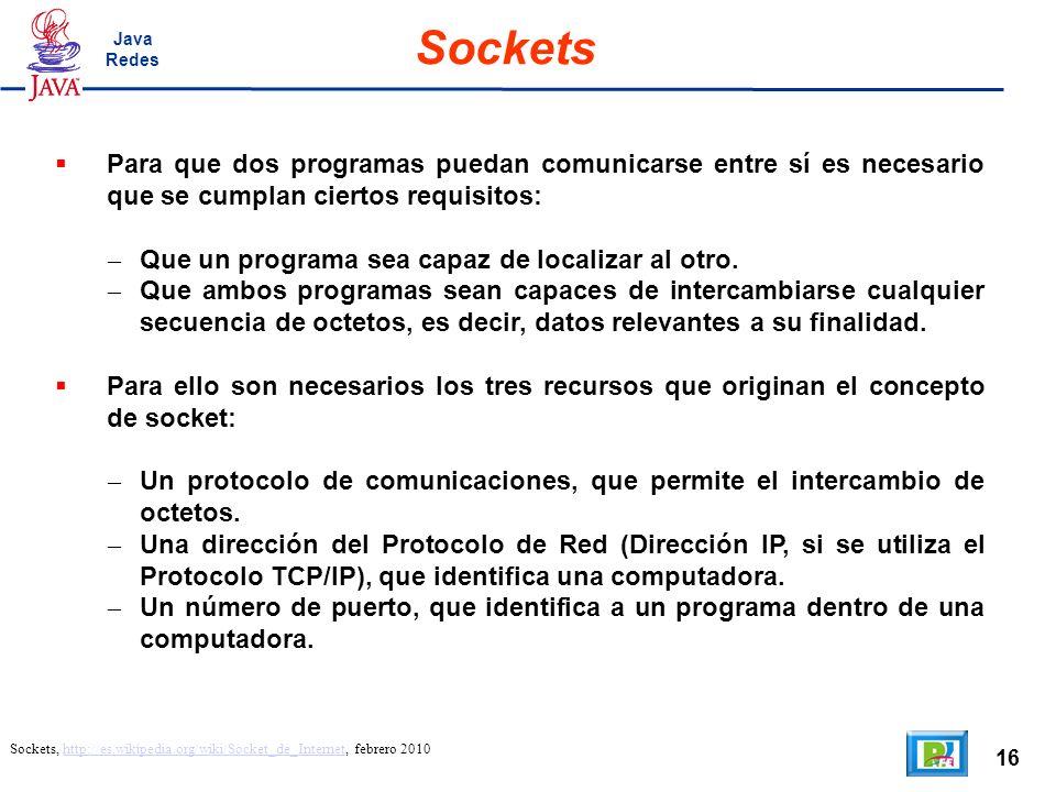 16 Sockets Sockets, http://es.wikipedia.org/wiki/Socket_de_Internet, febrero 2010http://es.wikipedia.org/wiki/Socket_de_Internet Para que dos programa