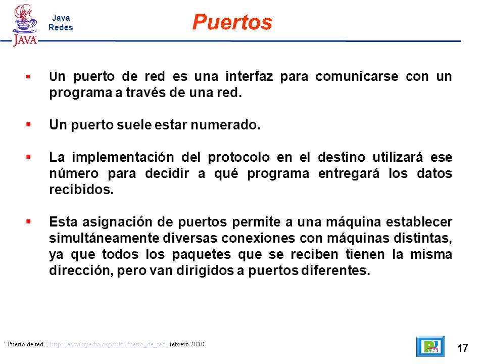 17 Puertos Puerto de red, http://es.wikipedia.org/wiki/Puerto_de_red, febrero 2010http://es.wikipedia.org/wiki/Puerto_de_red U n puerto de red es una interfaz para comunicarse con un programa a través de una red.