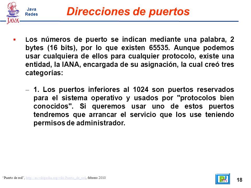 18 Direcciones de puertos Puerto de red, http://es.wikipedia.org/wiki/Puerto_de_red, febrero 2010http://es.wikipedia.org/wiki/Puerto_de_red L os númer