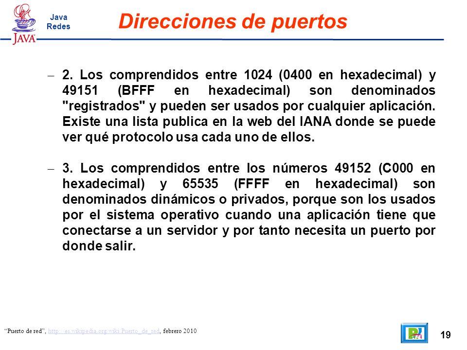 19 Direcciones de puertos Puerto de red, http://es.wikipedia.org/wiki/Puerto_de_red, febrero 2010http://es.wikipedia.org/wiki/Puerto_de_red – 2. Los c