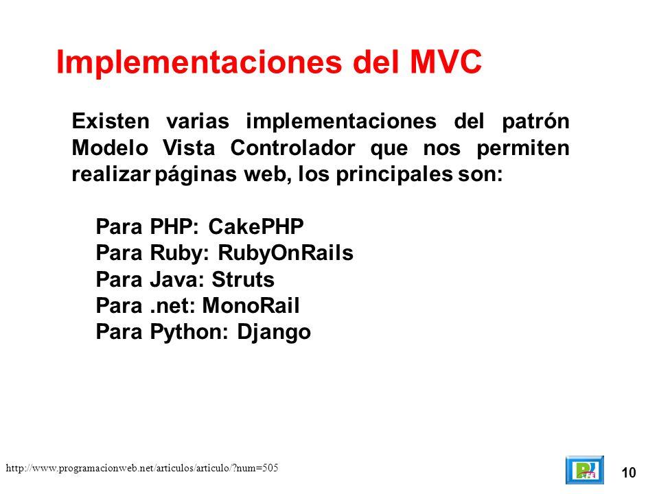 10 http://www.programacionweb.net/articulos/articulo/ num=505 Existen varias implementaciones del patrón Modelo Vista Controlador que nos permiten realizar páginas web, los principales son: Para PHP: CakePHP Para Ruby: RubyOnRails Para Java: Struts Para.net: MonoRail Para Python: Django Implementaciones del MVC