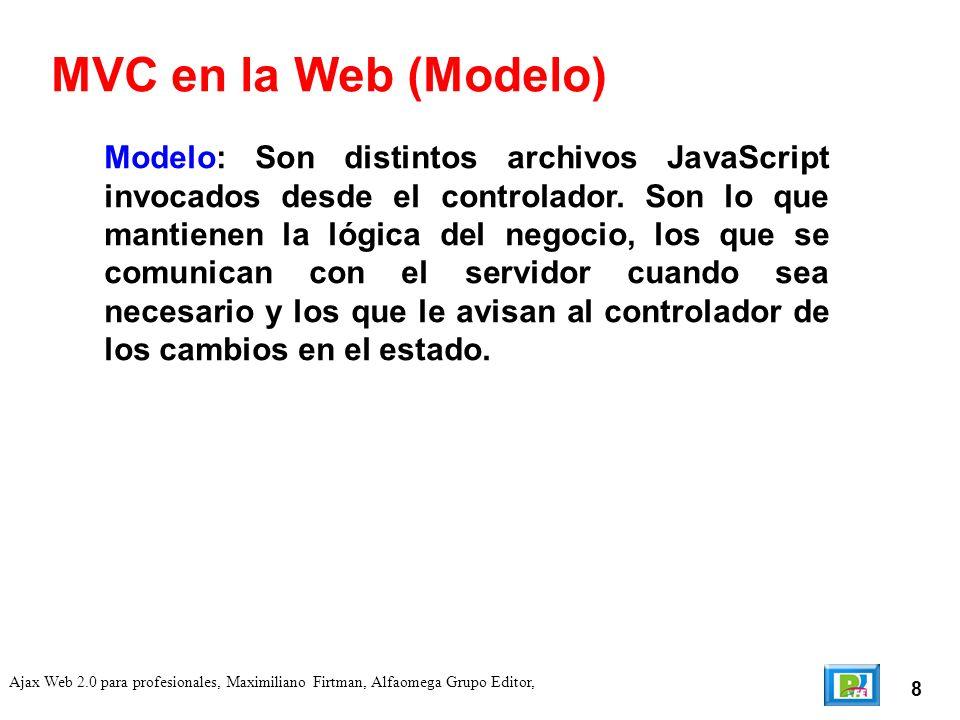 8 Ajax Web 2.0 para profesionales, Maximiliano Firtman, Alfaomega Grupo Editor, Modelo: Son distintos archivos JavaScript invocados desde el controlador.