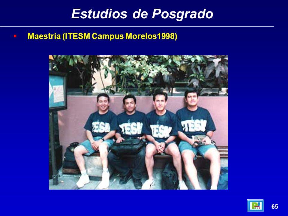 Estudios de Posgrado 64 Maestría (ITESM Campus Morelos1998)