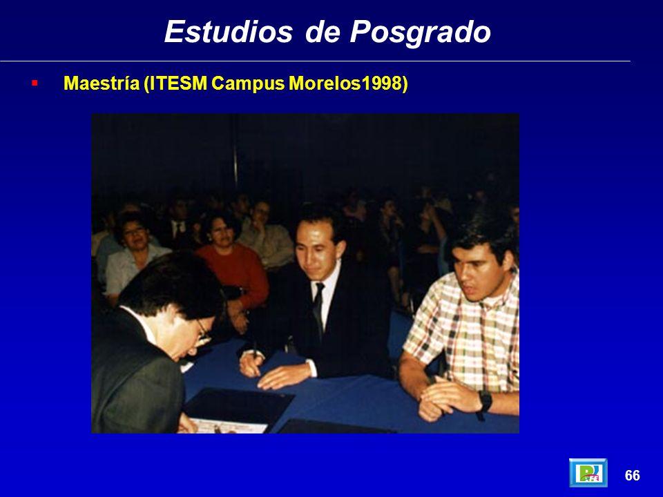 Estudios de Posgrado 65 Maestría (ITESM Campus Morelos1998)