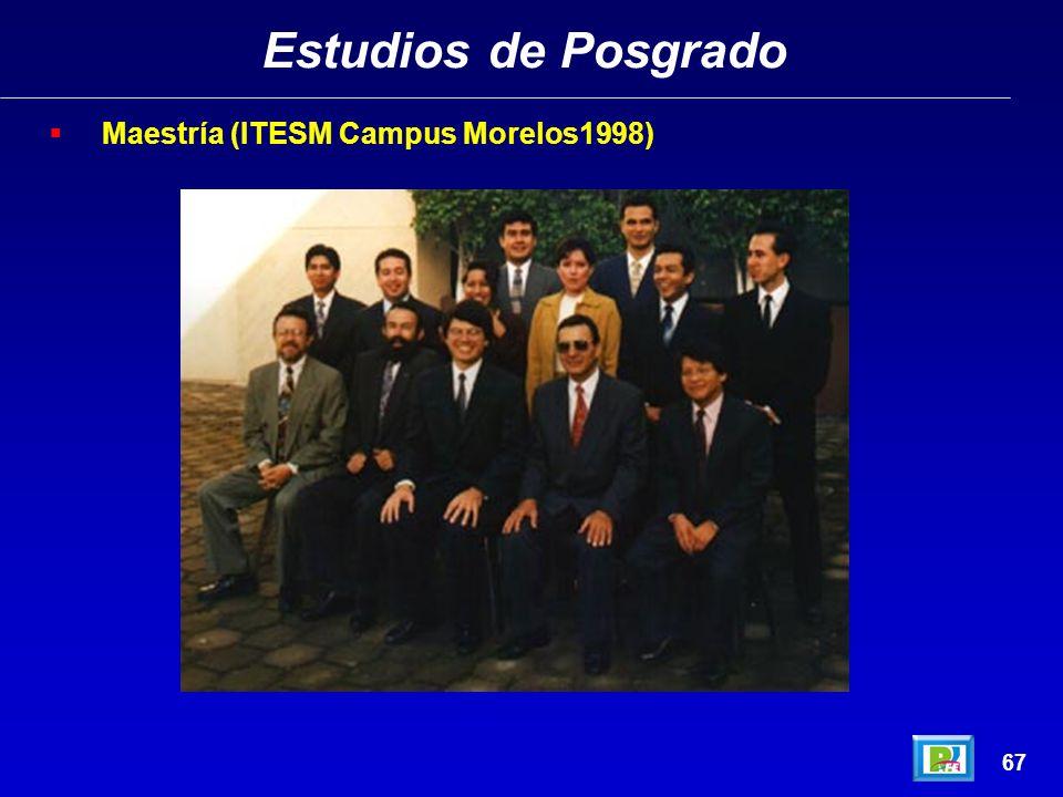 Estudios de Posgrado 66 Maestría (ITESM Campus Morelos1998)