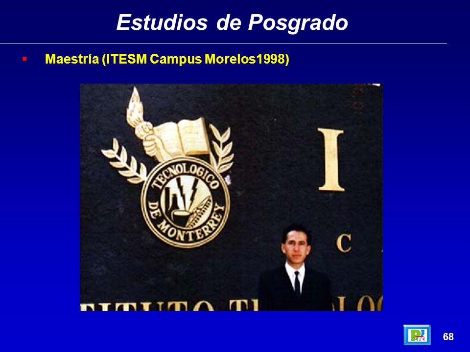 Estudios de Posgrado 67 Maestría (ITESM Campus Morelos1998)