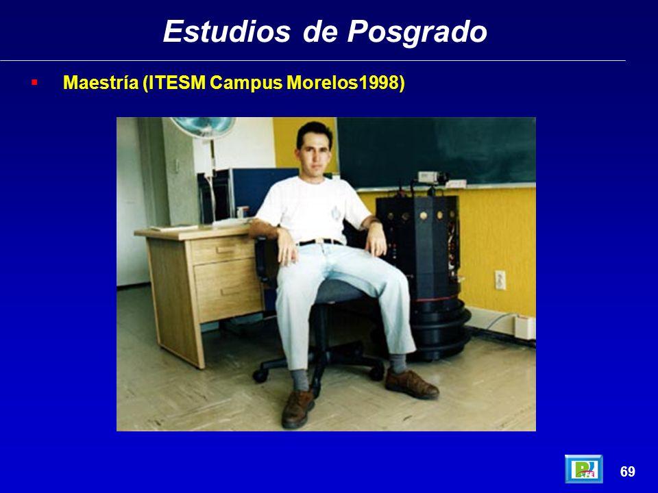 Estudios de Posgrado 68 Maestría (ITESM Campus Morelos1998)