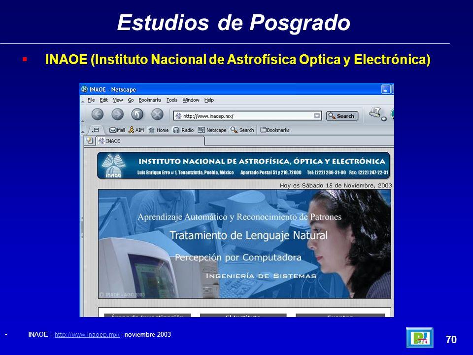 Estudios de Posgrado 69 Maestría (ITESM Campus Morelos1998)