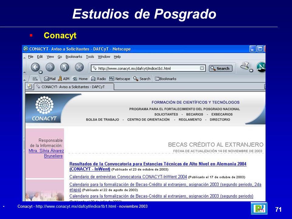 Estudios de Posgrado 70 INAOE - http://www.inaoep.mx/ - noviembre 2003http://www.inaoep.mx/ INAOE (Instituto Nacional de Astrofísica Optica y Electrón