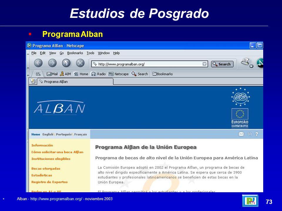 Estudios de Posgrado 72 SRE (Secretaría de Relaciones Exteriores – México). SER - http://servicios.sre.gob.mx/becas/ - noviembre 2003