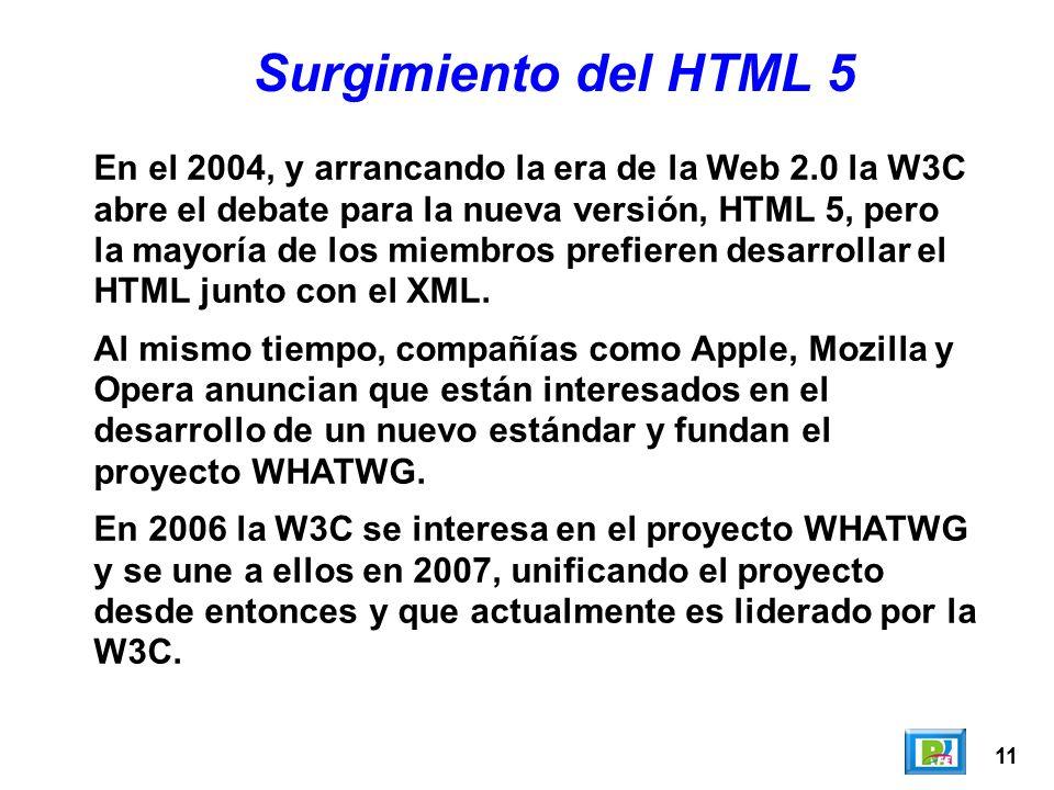 11 Surgimiento del HTML 5 En el 2004, y arrancando la era de la Web 2.0 la W3C abre el debate para la nueva versión, HTML 5, pero la mayoría de los miembros prefieren desarrollar el HTML junto con el XML.
