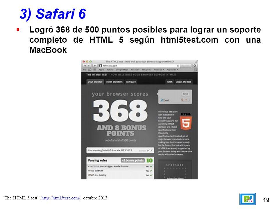 19 The HTML 5 test, http://html5test.com/, octubre 2013 3) Safari 6 Logró 368 de 500 puntos posibles para lograr un soporte completo de HTML 5 según h