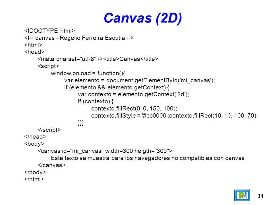 31 Canvas (2D) Canvas window.onload = function(){ var elemento = document.getElementById( mi_canvas ); if (elemento && elemento.getContext) { var contexto = elemento.getContext( 2d ); if (contexto) { contexto.fillRect(0, 0, 150, 100); contexto.fillStyle = #cc0000 ;contexto.fillRect(10, 10, 100, 70); }}} Este texto se muestra para los navegadores no compatibles con canvas