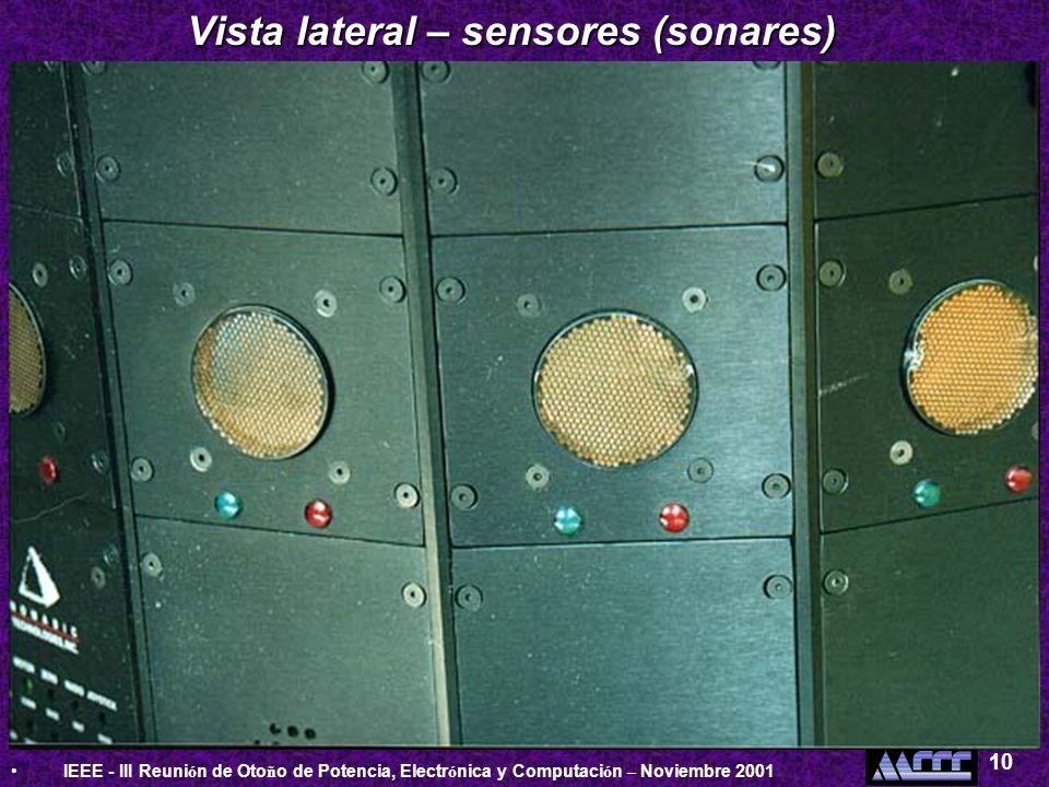 IEEE - III Reuni ó n de Oto ñ o de Potencia, Electr ó nica y Computaci ó n – Noviembre 2001 10 Vista lateral – sensores (sonares)