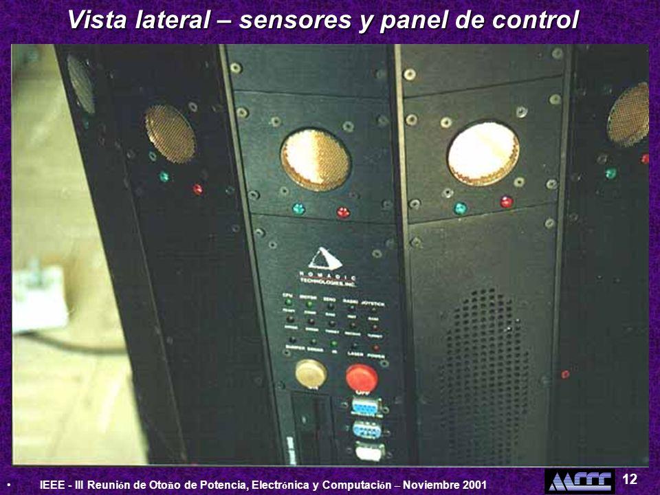 IEEE - III Reuni ó n de Oto ñ o de Potencia, Electr ó nica y Computaci ó n – Noviembre 2001 12 Vista lateral – sensores y panel de control