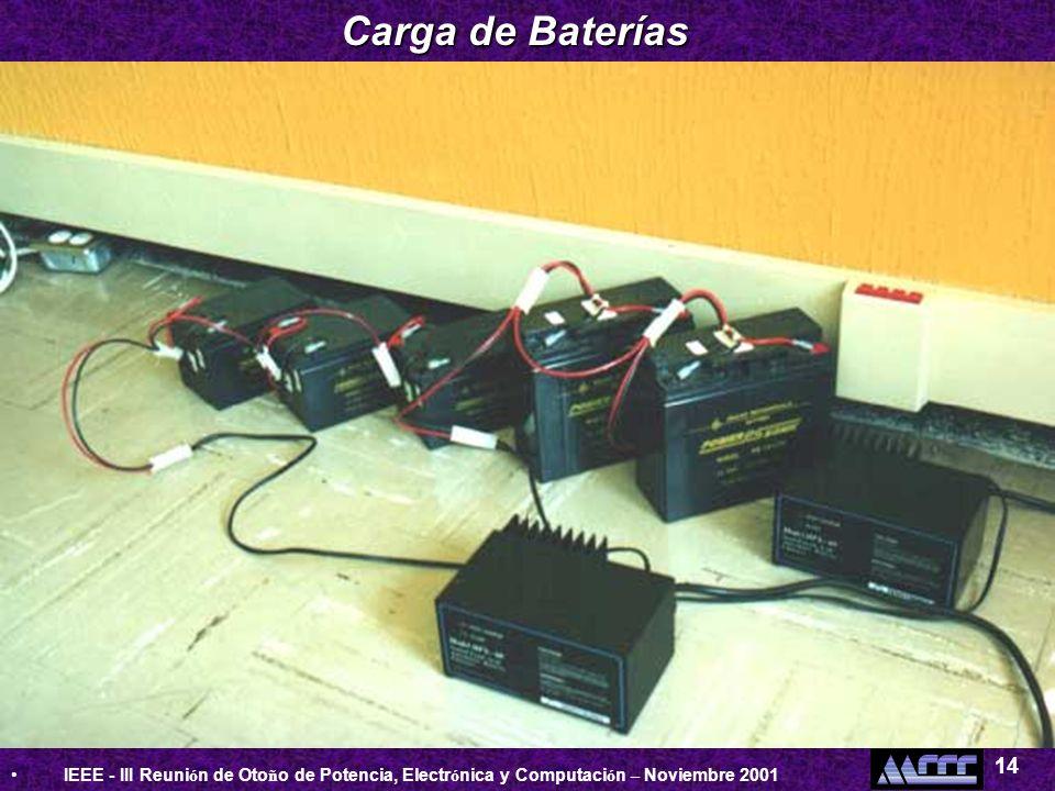 IEEE - III Reuni ó n de Oto ñ o de Potencia, Electr ó nica y Computaci ó n – Noviembre 2001 14 Carga de Baterías