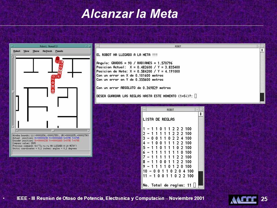 Alcanzar la Meta IEEE - III Reuni ó n de Oto ñ o de Potencia, Electr ó nica y Computaci ó n – Noviembre 2001 25
