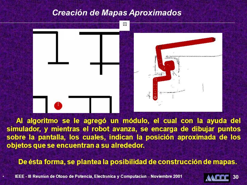 Creación de Mapas Aproximados Al algoritmo se le agregó un módulo, el cual con la ayuda del simulador, y mientras el robot avanza, se encarga de dibuj