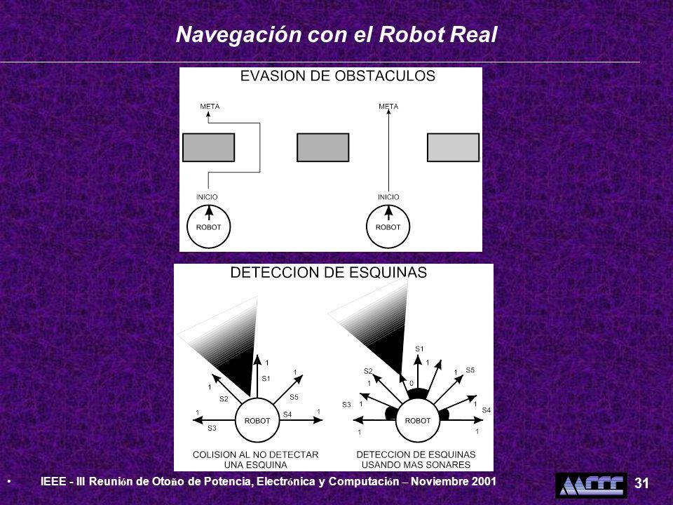 Navegación con el Robot Real IEEE - III Reuni ó n de Oto ñ o de Potencia, Electr ó nica y Computaci ó n – Noviembre 2001 31