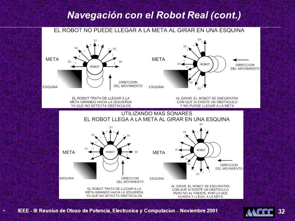 Navegación con el Robot Real (cont.) IEEE - III Reuni ó n de Oto ñ o de Potencia, Electr ó nica y Computaci ó n – Noviembre 2001 32