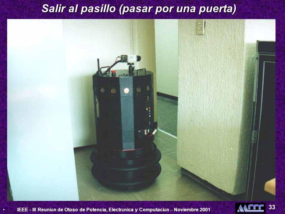 IEEE - III Reuni ó n de Oto ñ o de Potencia, Electr ó nica y Computaci ó n – Noviembre 2001 33 Salir al pasillo (pasar por una puerta)