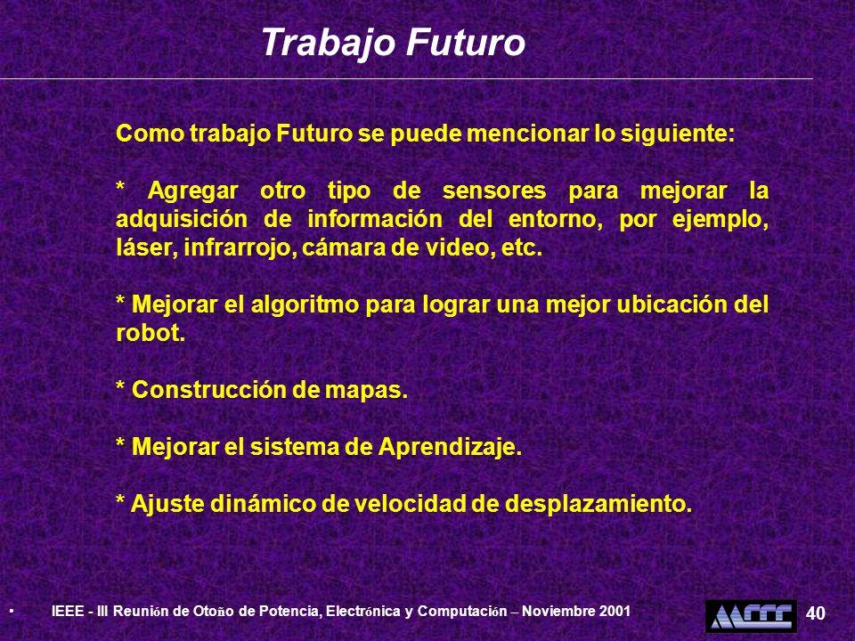 Trabajo Futuro Como trabajo Futuro se puede mencionar lo siguiente: * Agregar otro tipo de sensores para mejorar la adquisición de información del ent