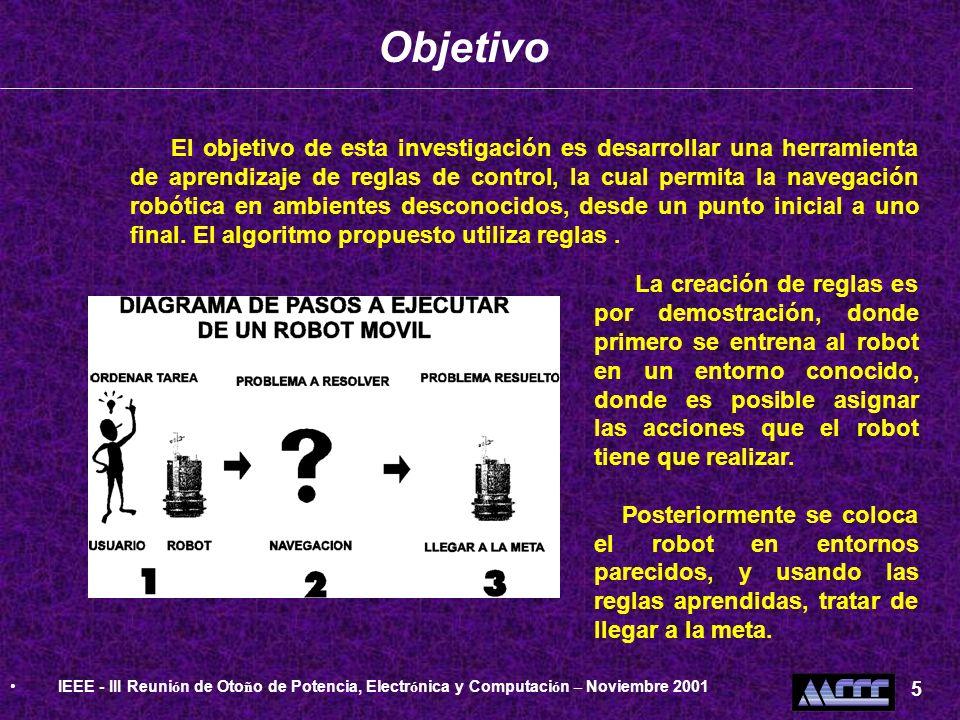 El objetivo de esta investigación es desarrollar una herramienta de aprendizaje de reglas de control, la cual permita la navegación robótica en ambien