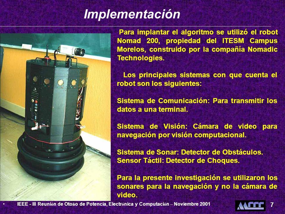 Para implantar el algoritmo se utilizó el robot Nomad 200, propiedad del ITESM Campus Morelos, construido por la compañía Nomadic Technologies. Los pr