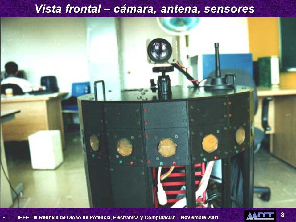 IEEE - III Reuni ó n de Oto ñ o de Potencia, Electr ó nica y Computaci ó n – Noviembre 2001 8 Vista frontal – cámara, antena, sensores