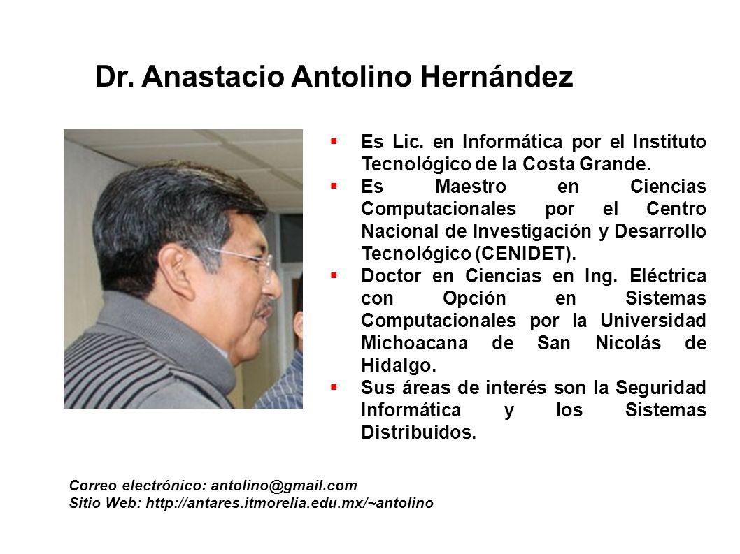 Dr. Anastacio Antolino Hernández Correo electrónico: antolino@gmail.com Sitio Web: http://antares.itmorelia.edu.mx/~antolino Es Lic. en Informática po