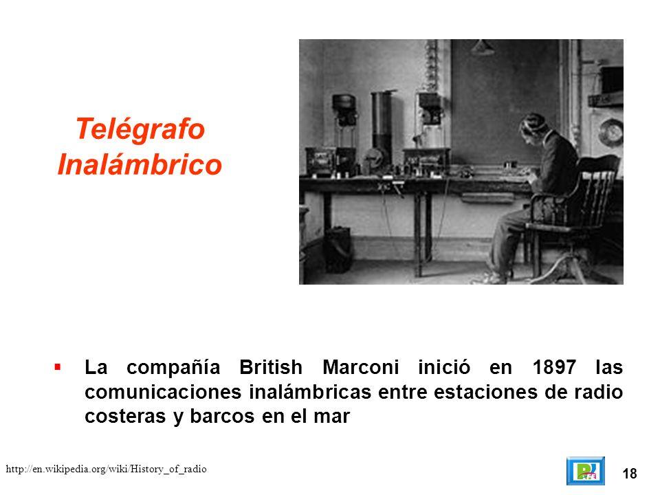 18 Telégrafo Inalámbrico La compañía British Marconi inició en 1897 las comunicaciones inalámbricas entre estaciones de radio costeras y barcos en el mar http://en.wikipedia.org/wiki/History_of_radio