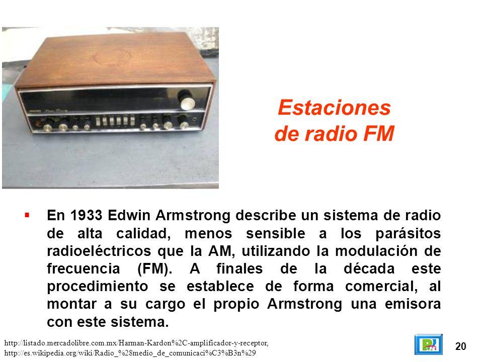 20 Estaciones de radio FM En 1933 Edwin Armstrong describe un sistema de radio de alta calidad, menos sensible a los parásitos radioeléctricos que la AM, utilizando la modulación de frecuencia (FM).