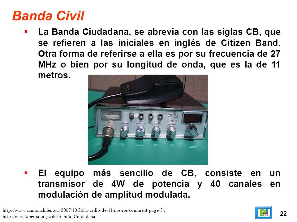 22 Banda Civil La Banda Ciudadana, se abrevia con las siglas CB, que se refieren a las iniciales en inglés de Citizen Band.