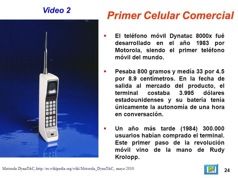 24 Motorola DynaTAC, http://es.wikipedia.org/wiki/Motorola_DynaTAC, mayo 2010 Primer Celular Comercial El teléfono móvil Dynatac 8000x fué desarrollado en el año 1983 por Motorola, siendo el primer teléfono móvil del mundo.
