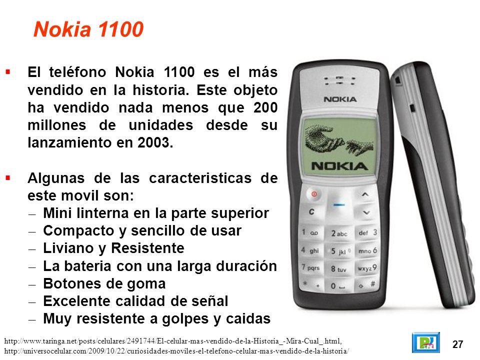 27 Nokia 1100 El teléfono Nokia 1100 es el más vendido en la historia.