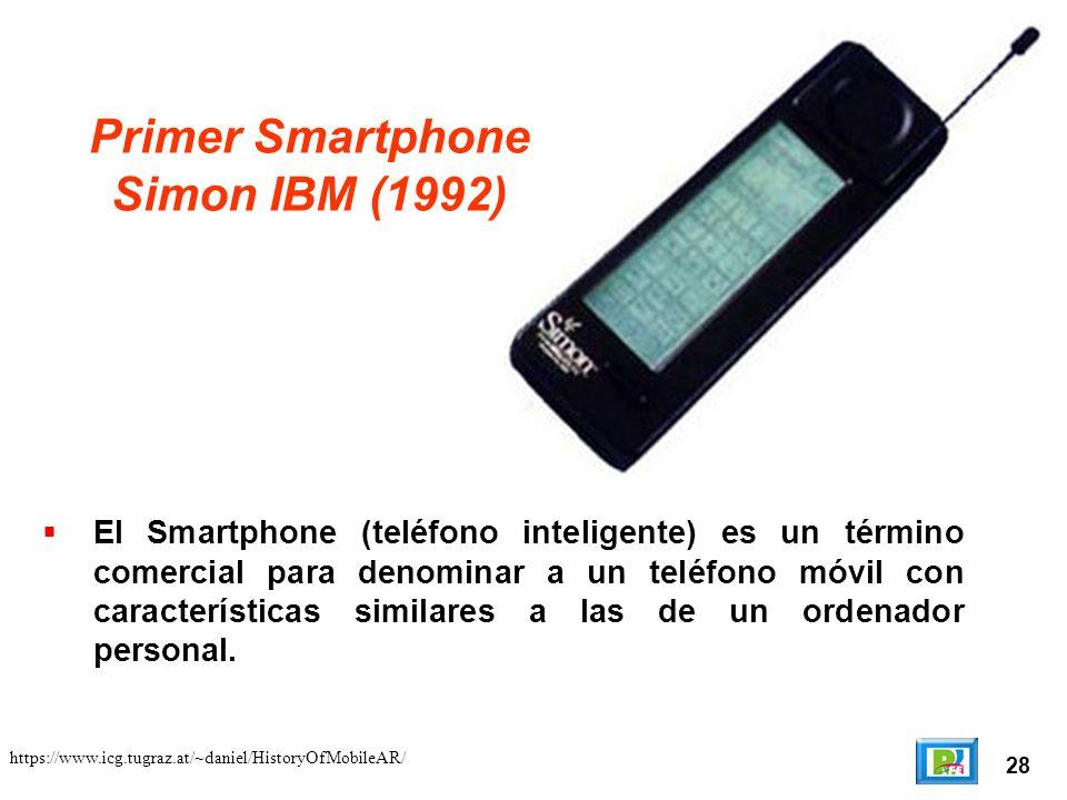 28 Primer Smartphone Simon IBM (1992) https://www.icg.tugraz.at/~daniel/HistoryOfMobileAR/ El Smartphone (teléfono inteligente) es un término comercial para denominar a un teléfono móvil con características similares a las de un ordenador personal.