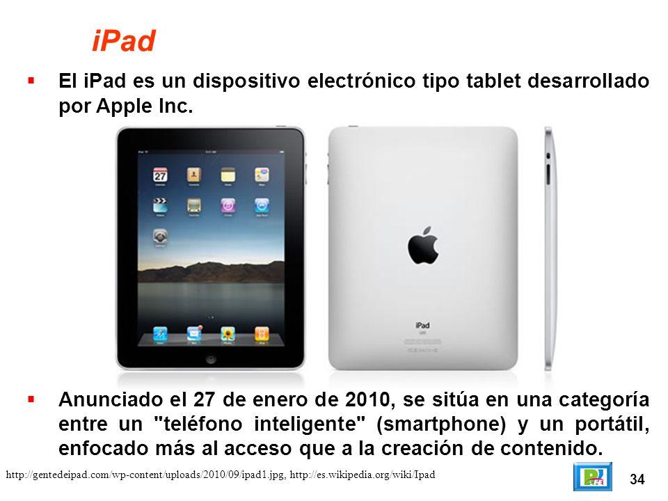 34 iPad El iPad es un dispositivo electrónico tipo tablet desarrollado por Apple Inc.