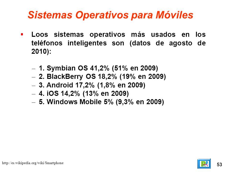 53 Sistemas Operativos para Móviles Loos sistemas operativos más usados en los teléfonos inteligentes son (datos de agosto de 2010): – 1.