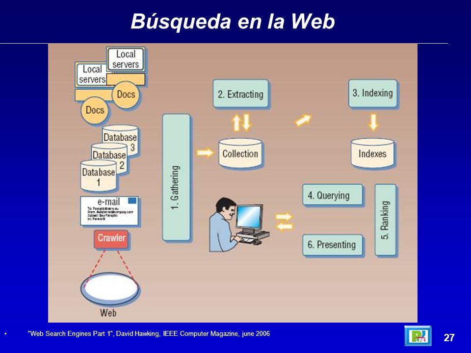 Búsqueda en la Web 27 Web Search Engines Part 1 , David Hawking, IEEE Computer Magazine, june 2006